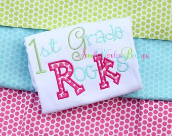 Back To School Embroidered Shirt - 1st Grade Rocks - School Shirts - Back To School - School Rocks Shirt -1st Grade Shirt-Girls School Shirt