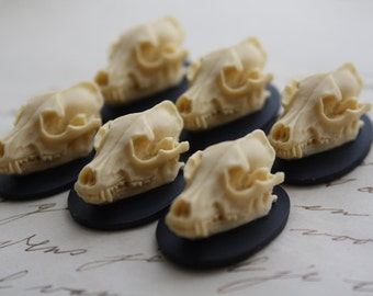Wolf Skull Cameo Cabs Resin Cabochon Taxidermy Animal Werewolf Wolf Skull Cameo Bat Steampunk Gothic Goth Skull Black Ivory 25x18mm 6 PIECES