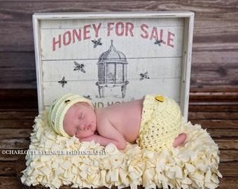 Newborn Honey Bee Set, Ready to Ship, Bee Hive Hat, Pants, Honey, Newborn Photo Prop, Boy, Girl, Bumble Bee, Pant Set, Yellow, Bee,