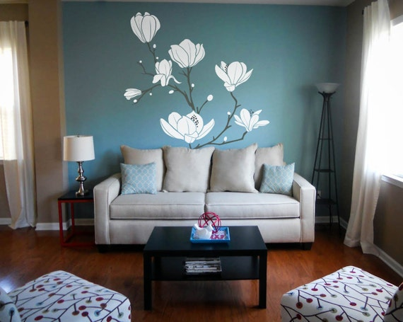 Magnolia Flower Blossom Decal Large Tree Branch Stickers
