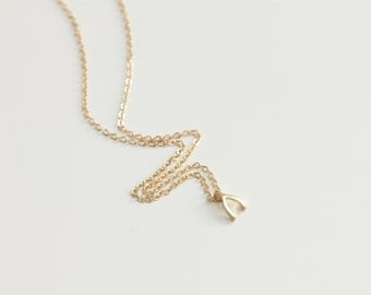 Delicate simple everyday lucky wishobne gold letter necklace