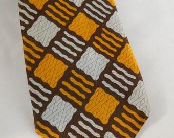 Vintage Tie / Brown Tie / Sebina of California Tie / Wide Orange Tie /Chocolate Brown 70s Necktie