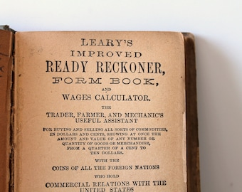 Wage calculator vintage antique book / Leary's Ready Reckoner / paper patina / collectible book / rustic home decor / desk decor / sepia