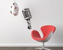 Giant retro Mircophone wall decal