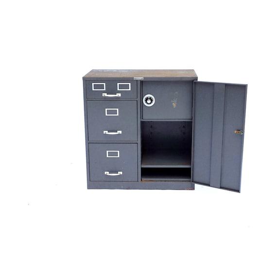 Mid Century Industrial Cabinet Vintage Metal File Cabinet