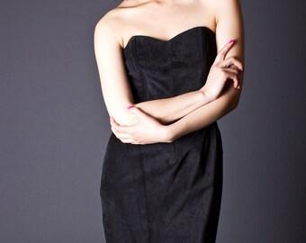 SALE 50% OFF 80s Vintage Strapless Suede Cocktail Dress in Black