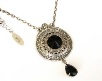 Black Swarovski Crystal Necklace  - Victorian Silver Pendant - Victorian Gothic Jewelry