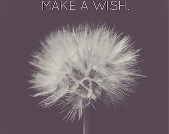 Make a Wish | Inspirational Dandelion Photo | Black & White | Square | Typography | Minimalistic