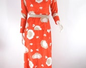70s Tunic and Maxi Skirt in Bold Orange-Red Poppy Print -