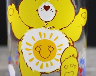 1983 Care Bear Glass Funshine FUN Shine Bear