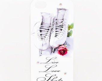 SKATING IPHONE CASE Live Love Skate Rose Iphone 4/4s Cellphone Figure Skating Cover