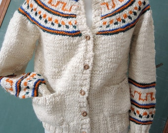 Wool Knit sweater guatemalan Gypsy Hippie Boho ethnic fairisle print sweater
