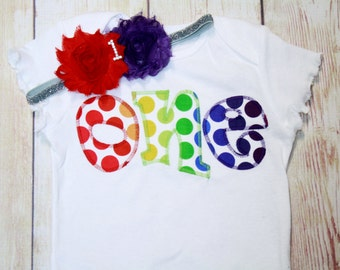"Rainbow Polka Dot Birthday ""One"" Shirt for Girls First Birthday - Primary Color 1st Birthday Shirt - Mutli Colored Matching Headband"