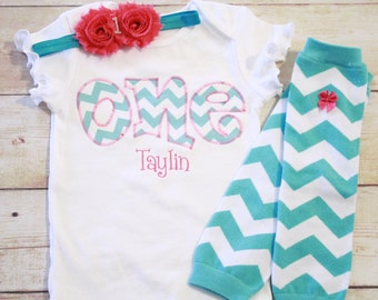 "Aqua Chevron and Hot Pink Birthday ""One"" Outfit for Girls First Birthday - 1st Birthday Shirt - Aqua and Hot Pink - Matching Headband"