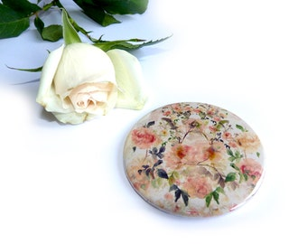Pocket Mirror Floral, Hand painted Peach Rose Design. Duck egg pastels. Wedding Favour. Bridal Gift. Small Gift. Small mirror. Accessory