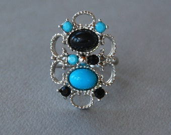 Vintage EMMONS Ring Faux Persian Turquoise Faux Onyx Rhinestone Silver Tone Filigree Adjustable 1970's // Vintage Designer Costume Jewelry
