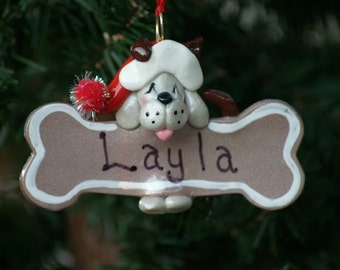 Handcrafted Polymer Clay Dog with Gingerbread Bone Ornament