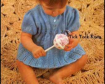 No.302 Baby Dress Knitting Pattern PDF Vintage - Little Girl Blue Dress & Knickers - Sizes 12 months to 3 years - Baby Knitting Pattern