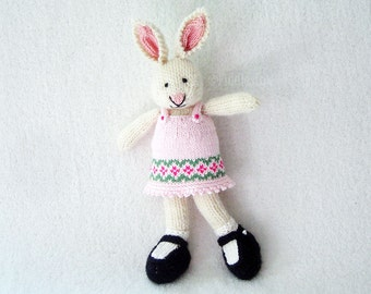 Hand Knitted Toy - Stuffed Animal - Hand Knit Rabbit - Hand Knit Soft Toy - Kids Toy - Easter Toy - Hand Knit Bunny - Stuffed Animal, TAMMY