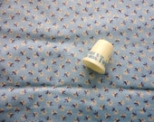 tiny blue and white floral print vintage cotton blend fabric -- 44 wide by 1 yard