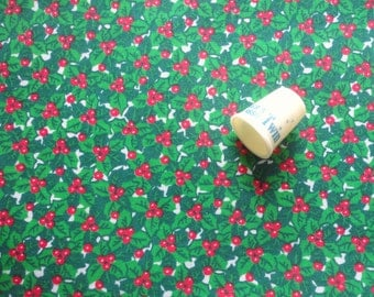 holly christmas print cotton blend fabric -- 44 wide by 1 yard