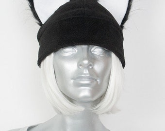 Furry Ear Black Hat