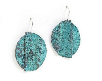 Blue Copper Earrings - Patina Earrings - Green Copper Earrings - Aged Copper Earrings - Rustic Copper Earrings - Blue Earrings - Distressed