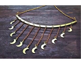 handcrafted raw brass large collar, brass crescent moon chain dangles bib choker.