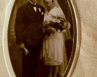 Vintage Wedding Photo Circa 1920's French Couple