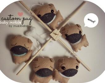 BABY MOBILE, baby mobile, crib mobile, pug mobile, pug nursery, puppy mobile, handmade baby mobile