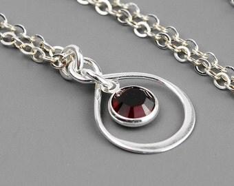 Infinity Birthstone Necklace - Swarovski Birthstone Necklace - Sterling Silver Pendant Necklace - Personalized Gift