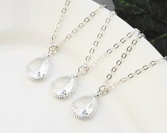 Bridesmaid Jewelry Set -15% OFF SET OF 7 Clear Crystal Bridesmaid Necklaces - Silver Clear Glass Pendant Necklace - Bridal Jewelry Set