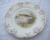 Beautiful China or Porcelain Fish Plate/ Collectible Fish Plate / Marked Orleans Bavaria
