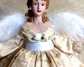 Brunette Angel With The 10 COMMANDMENTS Printed on GOWN OOAK Christmas Angel Treetop Free Personalization