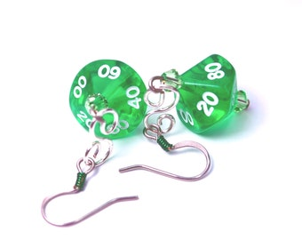 Transparent Green Dice Earrings D10s