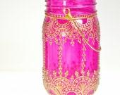 Henna Inspired Mason Jar Lantern, Hot Pink Glass With Golden Accents