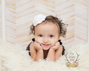 Black White Polka Dots Flower Headband - Baby Newborn Infant Toddlers Girls Women