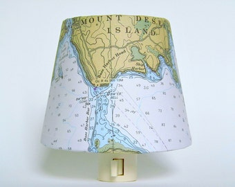Nautical Night Light - Mount Desert Island Chart Night Lights - Vintage Nautical Chart Reproduction of Down East, ME - Made in Maine Made