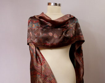 Silk Scarf, Silk Shawl, Paisley Scarf, Pashmina, Brown Red Long Scarf, Pashmina Shawl, Pashmina Wrap, Double Sided, Gift For Women, For Mom