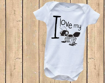 I love my Aunt - Ant Baby One Piece Bodysuit - Funny - Cute - Humor