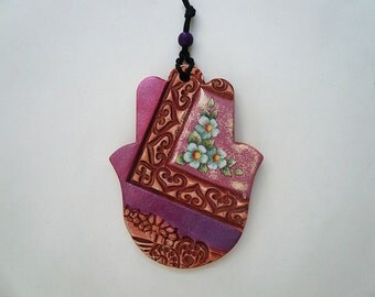 Pink Purple Hamsa Wall, Handmade Ceramic Hamsa, Housewarming Gift, One of a Kind Jewish Gift, Talisman Art, Good Luck Symbol.