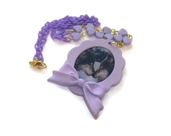Pastel Wolf Cameo Necklace, Pastel Lilac Heart Beads and Chain, Cute Kawaii Animal