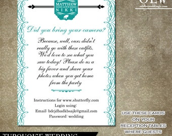 Wedding Camera Instagram Cards to set at your reception tables Turquoise Flourishes