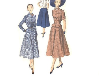Advance 5514 Sewing Pattern 1940s Two Piece Dress Suit Full Skirt Dart Fitted Peplum Jacket Blouse Notched Collar Hollywood Fashion Bust 34