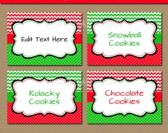 Chevron EDITABLE Christmas Printable Buffet Cards, Labels, Tent cards, DIY Candy Buffet Labels - Red Green - INSTANT