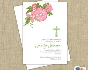 Baptism invitation. Christening announcement. First Communion invitation