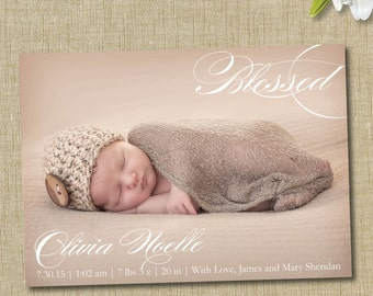 modern birth announcement. custom photo card. photo baby announcement.blessed