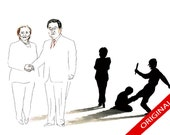 Hu Jintao and Hillary Clinton Illustration - Original -  20% OFF inc.