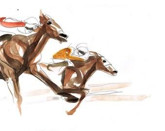 Horse Racing Drawing - Original -  Pen and Watercolor