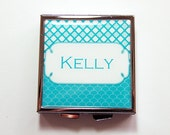 Personalized Pill box, Personalized Pill case, Square Pill box, 4 Sections, personalized gift, Custom pill case, turquoise (4117)